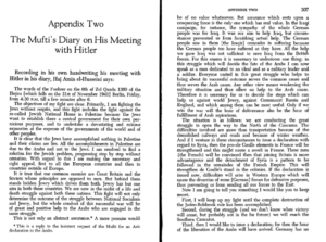 Mufti's Diary Entry Re Meeting Hitler