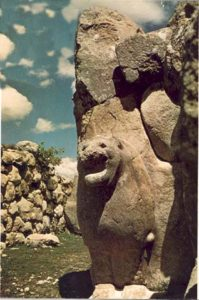 One of the two lions guarding the entrance to the Hittite capital