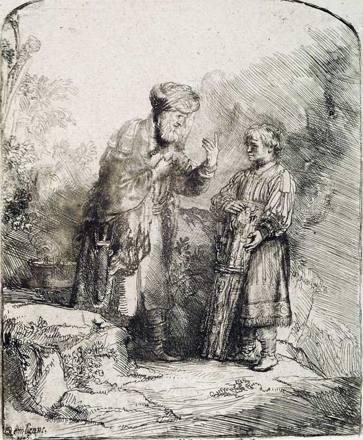 Abraham And Isaac, Rembrandt : Center For Online Judaic