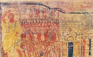 Dura Europos synagogue wall painting showing the Hebrews leaving Egypt