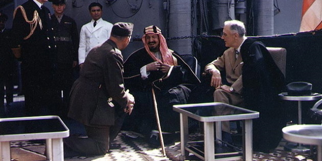 King Ibn Saud and President Franklin D. Roosevelt, USS Quincy, Feb. 14, 1945.