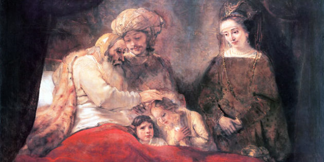 Jacob Blesses Joseph's Sons, Rembrandt (1606-1669).