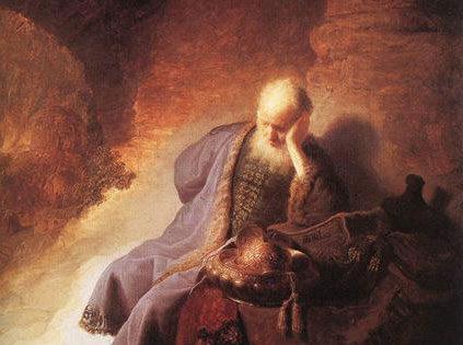 Jeremiah Laments the Destruction of Jerusalem, Rembrandt (1606-1669).