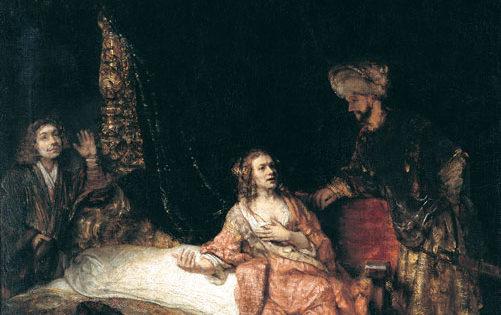 Joseph Resists Temptation, Rembrandt (1606-1669).