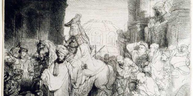 Triumphal Procession of Mordechai, Rembrandt (1606-1669).