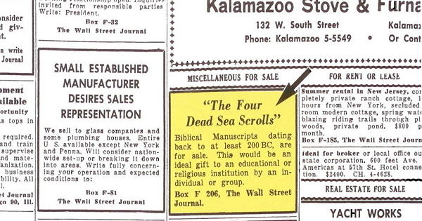 Classified Ad, The Wall Street Journal, June 1, 1954