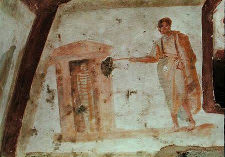 Earliest known depiction of Lazarus, Callistus Catacombs, Rome, 3rd Century CE