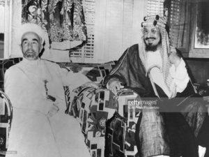 King Abdullah of Trans-Jordan and King Iban Saud of Saudi Arabia