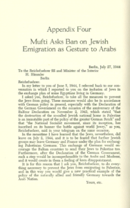 Mufti asks for Ban on Jewish Emigration