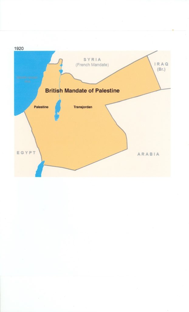 July 1st 1920 Map British Mandate of Palestine