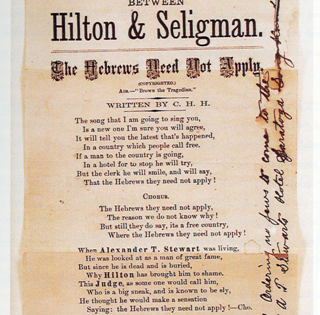 July 1877 American Antisemitism  The Celebrated Seligman-Hilton Affair