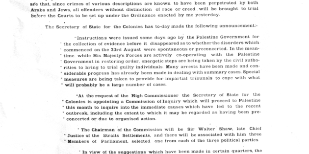 September 4, 1929 High Commissioner of Palestine Mandate Enacts Courts Ordinance