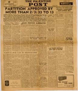 Palestine Post Nov 29 1947